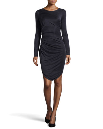 Long-Sleeve Fishtail Cupro Dress, Navy