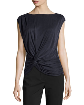 Twisted Draped Cupro Top, Navy