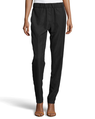 Relaxed Washed-Knit Pants, Black