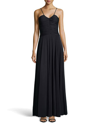 Drape-Pleated V-Neck Gown, Black