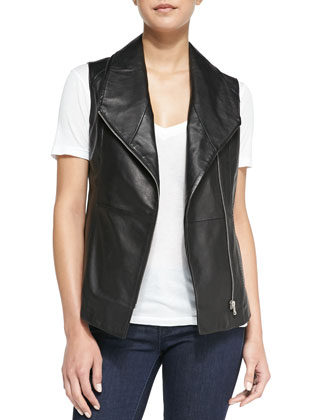 Fold-Over-Collar Leather Vest, Black
