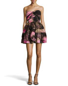 Brighton Strapless Printed Dress, Pink Wing