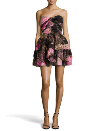 Brighton Strapless Printed Dress, Pink Wing