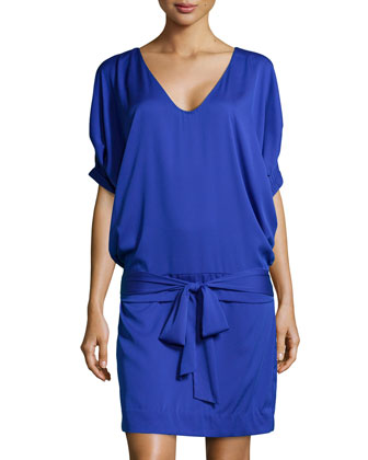 Edna Woven Tie-Waist Dress, Blue Jay
