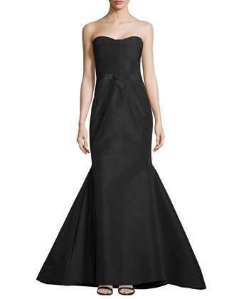 Strapless Sunburst Mermaid Gown, Midnight
