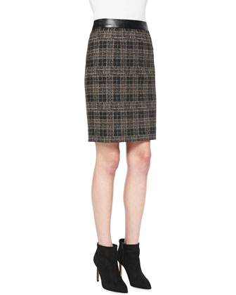 Sleuth Plaid Leather-Waist Skirt