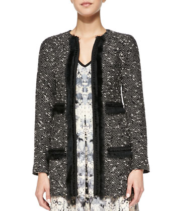 Incognito Fur-Trim Tweed Coat & Love Crime Solid-Trim Floral Dress