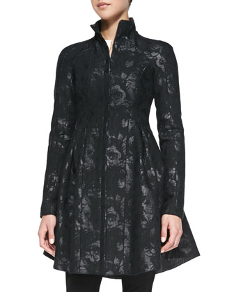 Skyscape Shimmery Brocade Coat, Trail Me Patchwork Silk Blouse & After ...