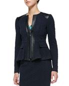 Keyhole Leather-Trim Textured Jacket