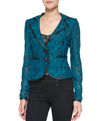 I Spy Leather-Trim Lace Jacket and Open & Shut Leather/Ponte Corset Top ...