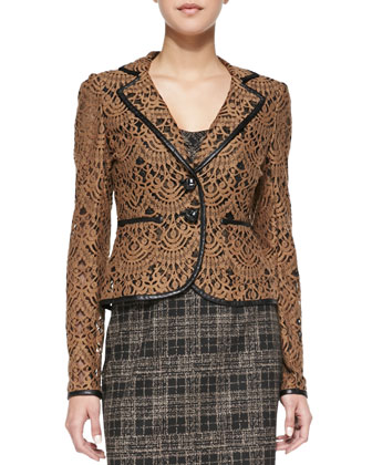 I Spy Leather-Trim Lace Jacket, Sleuth Stretch Plaid Corset Top & Sleuth ...