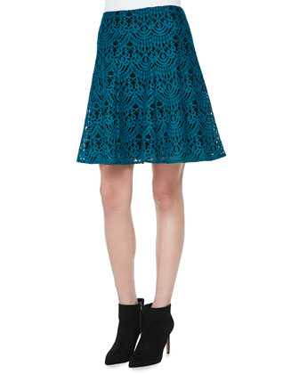 Trail Me Patchwork Silk Blouse & I Spy A-Line Lace Skirt
