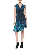 Mystery Asymmetric Floral-Print Dress