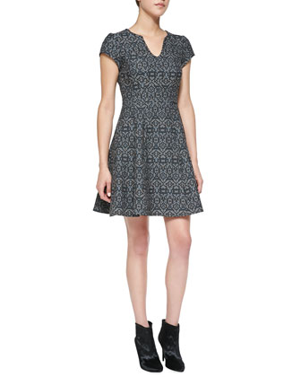 Breakthrough Split-Neck Jacquard Dress