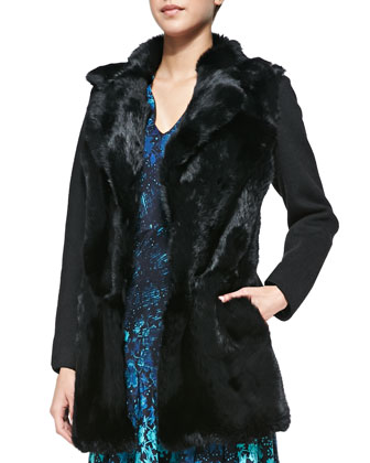 Luscious Rabbit-Fur/Knit Coat & Mystery Asymmetric Floral-Print Dress