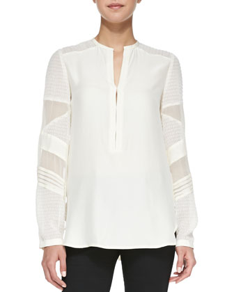 Trail Me Patchwork Silk Blouse, Ivory