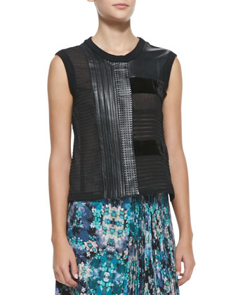 Getaway Leather/Patchwork Sleeveless Top & Foul Play Pleated Floral-Print Skirt