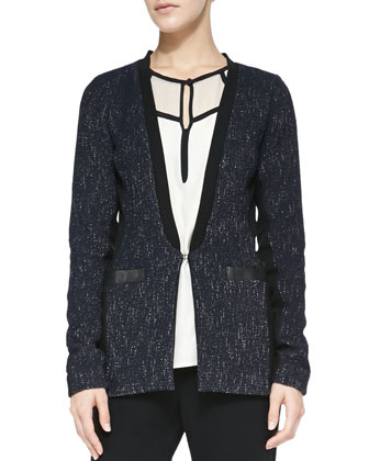 Scandal Leather-Trim Tweed Jacket, Hush-Hush Contrast-Trim Blouse & ...