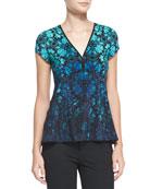 Motive Floral-Print Silk Top