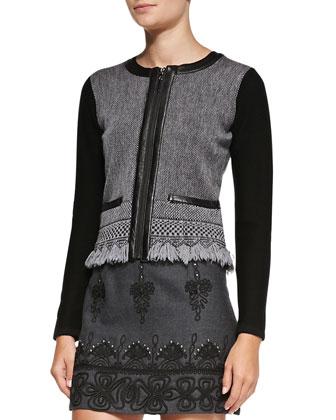 Intrigue Leather-Trim Tweed Jacket