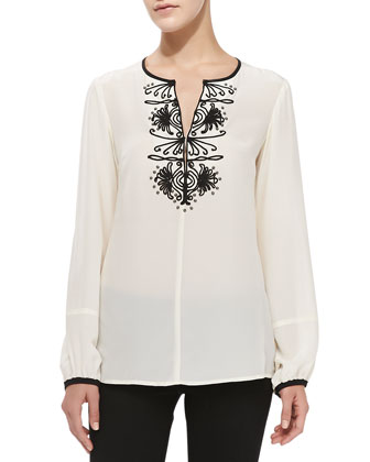 Contrast-Trim Embroidered Silk Blouse