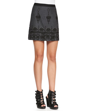 Whirling Dervish Embroidered Miniskirt