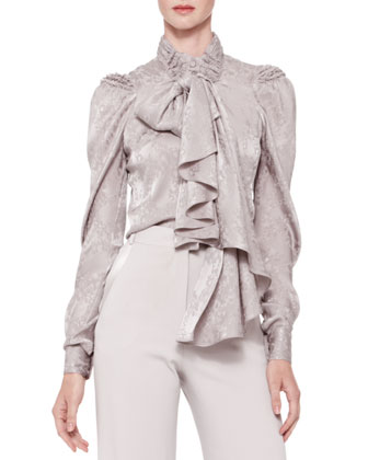 Long-Sleeve Tie-Neck Blouse, Gray