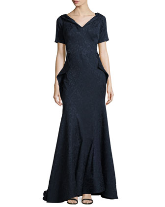Off-The-Shoulder Draped Lace-Jacquard Gown, Midnight