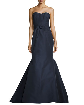 Strapless Fold-Detailed Mermaid Gown, Midnight