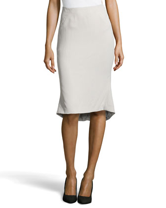 Fluted Crepe Pencil Skirt, Feather Gray