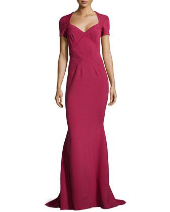 Seam-Detailed Pique-Knit Gown, Cherry Wine