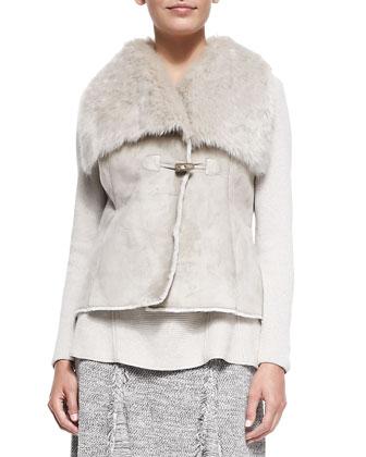Faux-Suede Vest with Faux-Fur-Trim, Petite