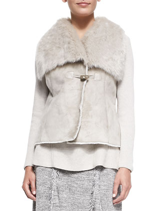 Faux-Suede Vest with Faux-Fur-Trim