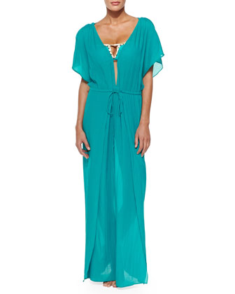 Agatha Drawstring-Waist Chiffon Maxi Coverup Dress