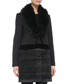 Quilted-Bottom Coat w/ Faux Fur Collar