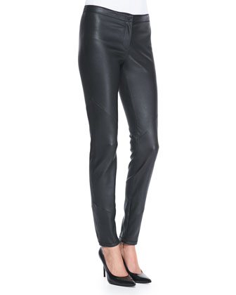 Leather Zip-Cuff Slim-Leg Pants