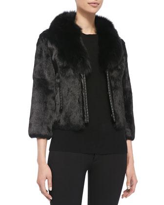 Rabbit Fur Jacket w/ Fox Collar