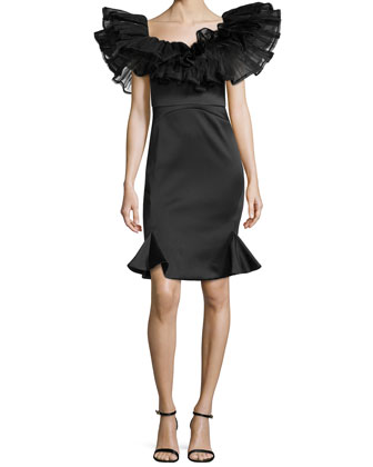 Puff Ruffled Cocktail Dress, Black