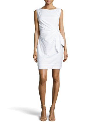 Tie-Waist Poplin Sheath Dress, White