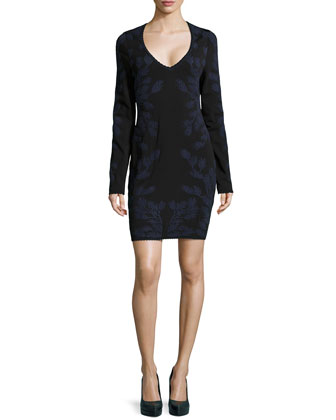 Mirrored Leaf-Jacquard Knit Dress, Navy/Black