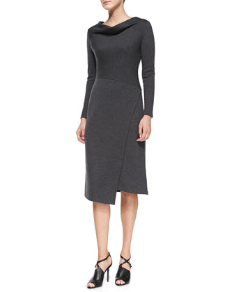 Long-Sleeve Wool Draped-Neck Dress