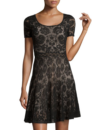 Short-Sleeve Lace Dress, Black