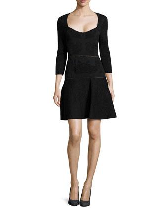 Jacquard Knit Dress, Black