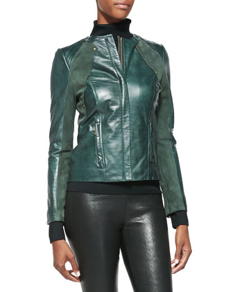 Croc-Embossed Leather & Suede Jacket