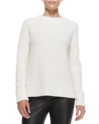 Luxe Merino-Cashmere Ribbed Sweater