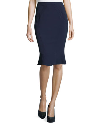 Crepe Flounce Pencil Skirt, Midnight