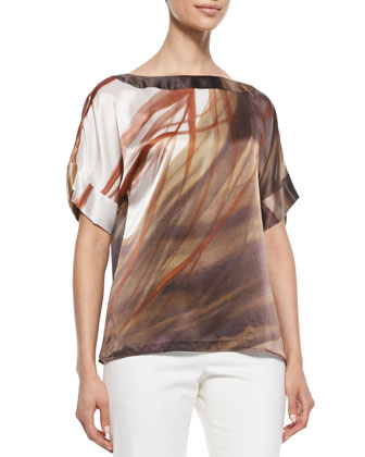 Larkin Short-Sleeve Printed Top