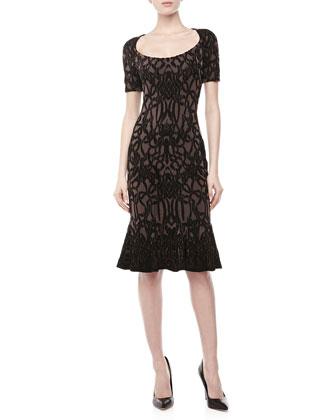 Short-Sleeve Jacquard Fluted Dress, Black/Maude