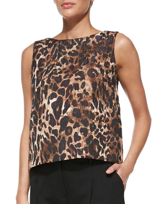 Maddie Leopard-Print Top & Pleated Stretch-Twill Pants