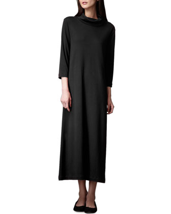 Turtleneck Maxi Dress, Black, Women's